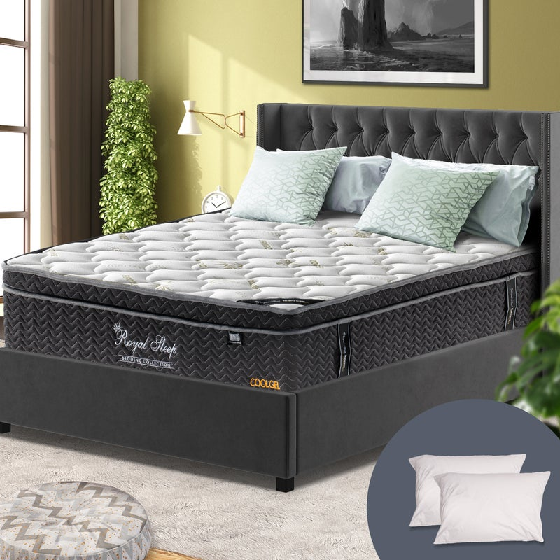 Queen Double King Single Mattress Euro Top 9 Zone Pocket Spring Cool Gel Bamboo