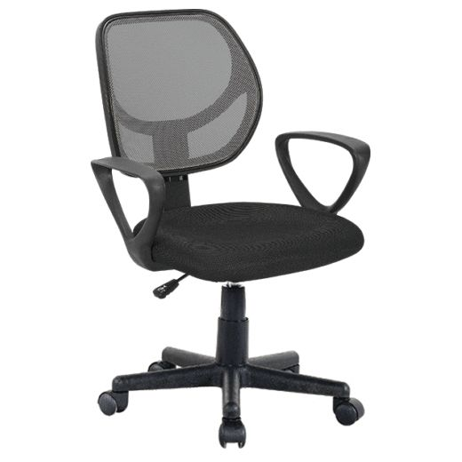 Mesh & PU Leather High Back Office Chair in Black