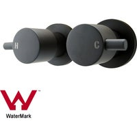 Wall Mounted Round 1/4 Turn Shower/Water Spout Hot Cold Taps Black