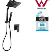 8' Rain Square Twin Shower Station Handheld Head Mixer Tap Set Black