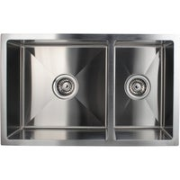 Handmade 304 Stainless Steel Double Bowl Kitchen Sink Square 710x450x205mm