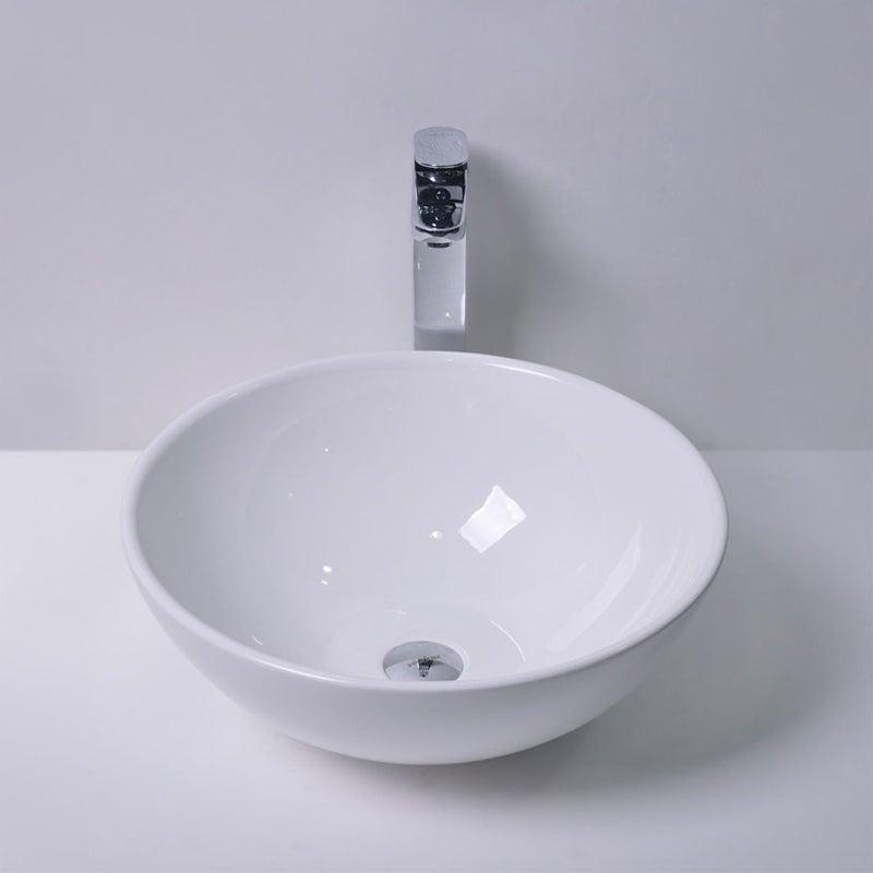 280x280x120mm MACHO Round Gloss White Ceramic Above Counter Basin Wash Sinks
