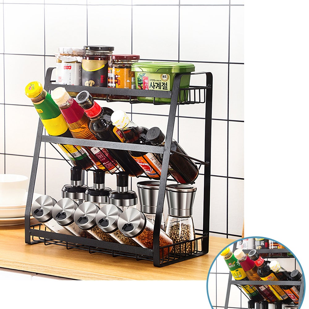 3 Tier Black Stainless Steel Kitchen Spice Rack Pantry Storage Shelves Organisers