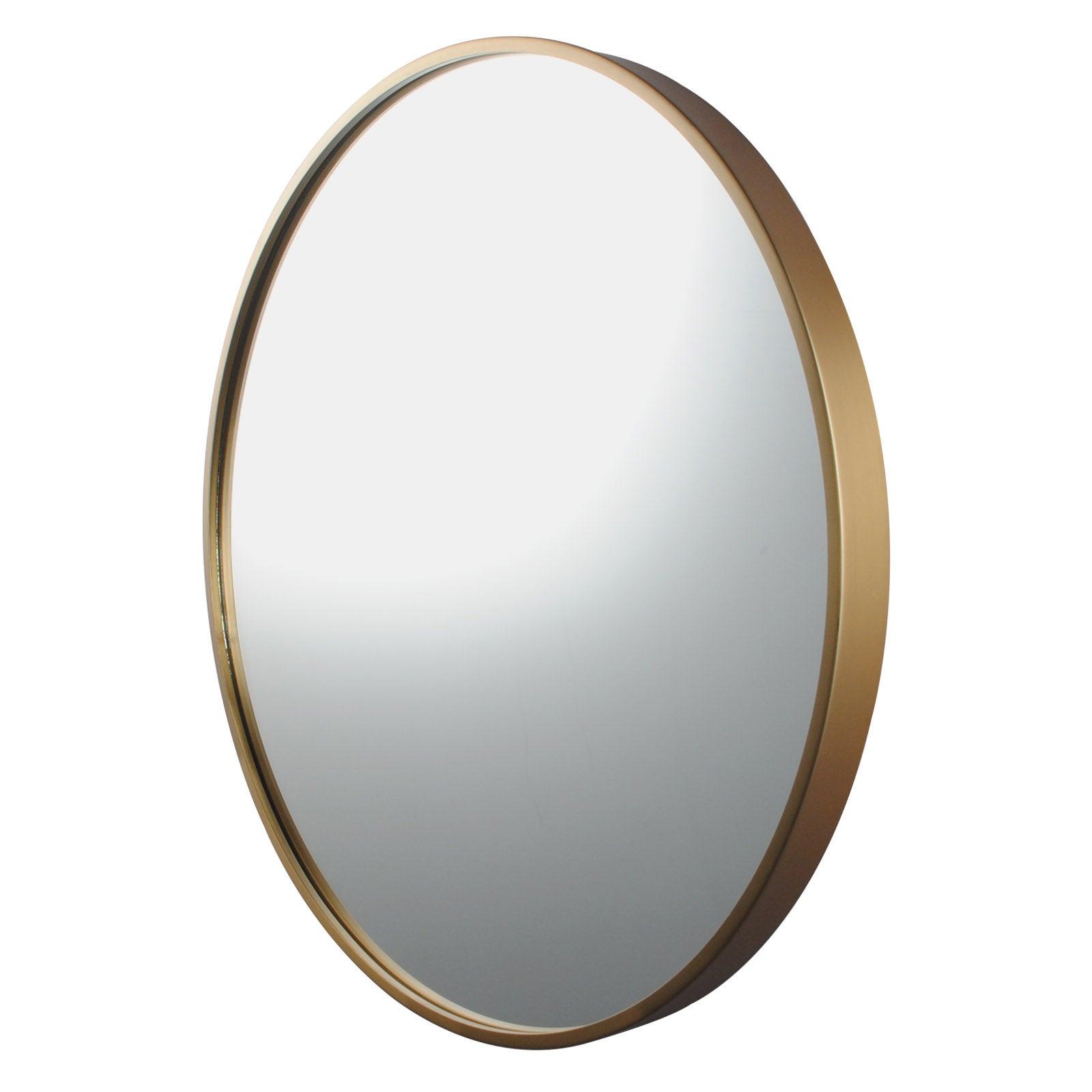 600x600x40mm Bathroom Mirror Golden Stainless Steel Framed Round Wall Mirror with Brackets