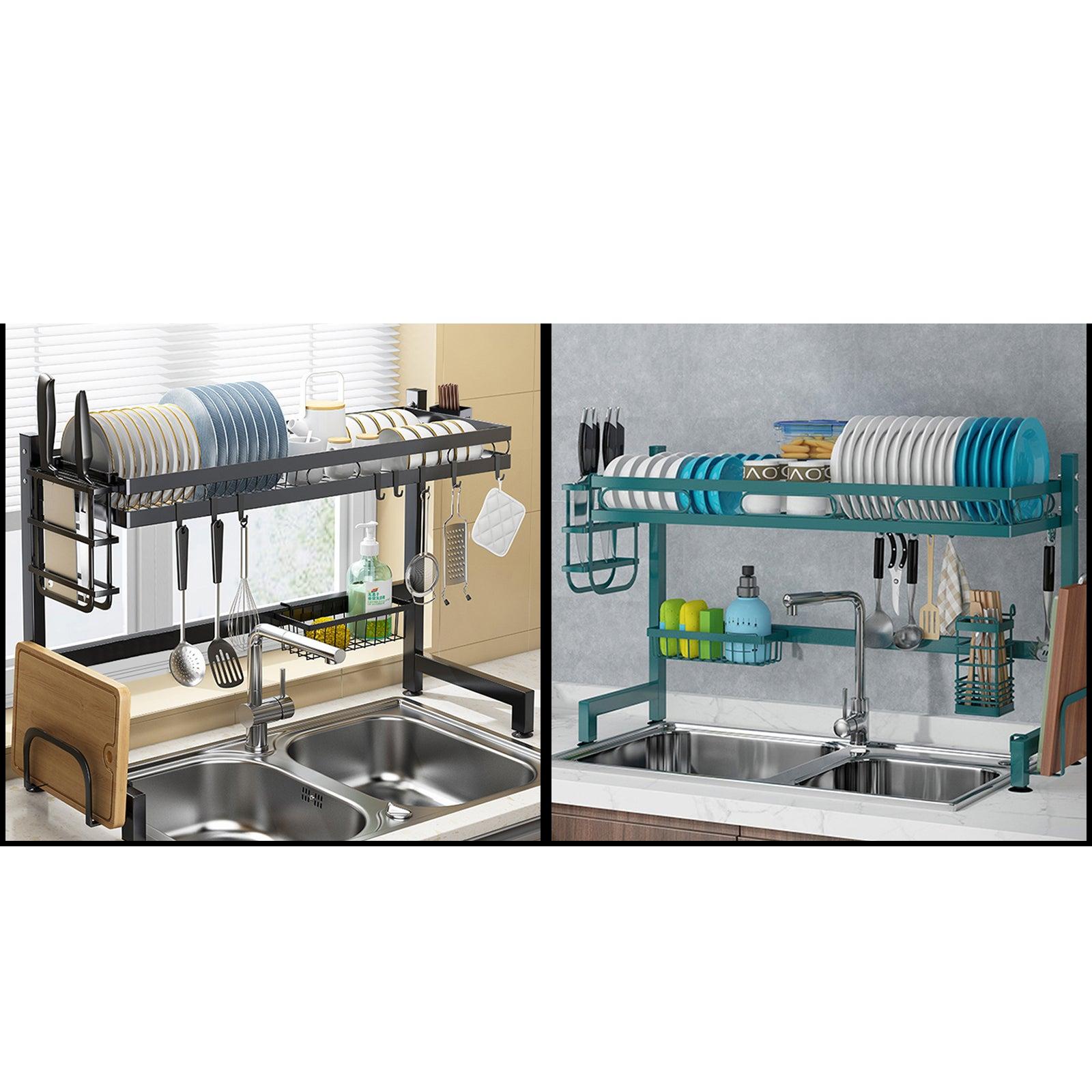 95CM 2 Tier Kitchen Dining Storage Organizer Drying Dish Basket Rack Carbon Steel Over Sink Black/Dark Green