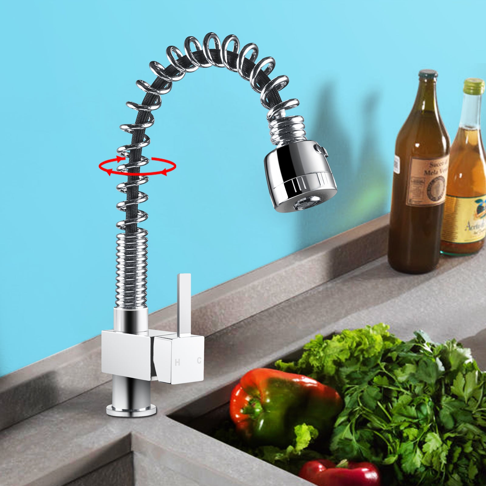 Kitchen Sink Mixer Tap Pull Out Shower Spray Vanity Faucets 360 degree spout Watermark & WELS