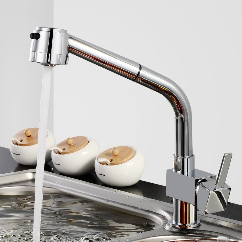 Pull Out Kitchen Mixer Tap Swivel Chrome Shower Spout Watermark WELS