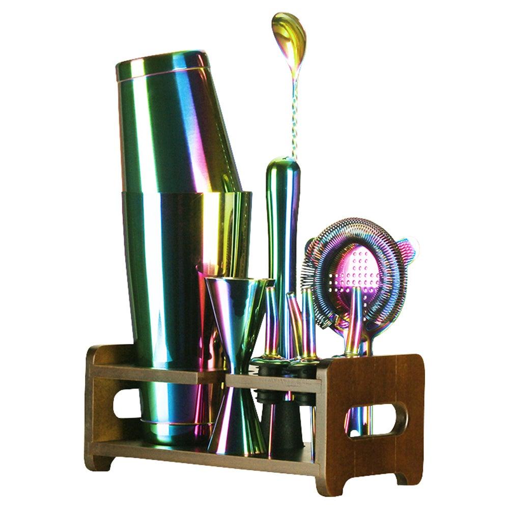 Seven Colour Cocktail Shaker Maker Set Jigger Dining Bar Tools 10pc Kit
