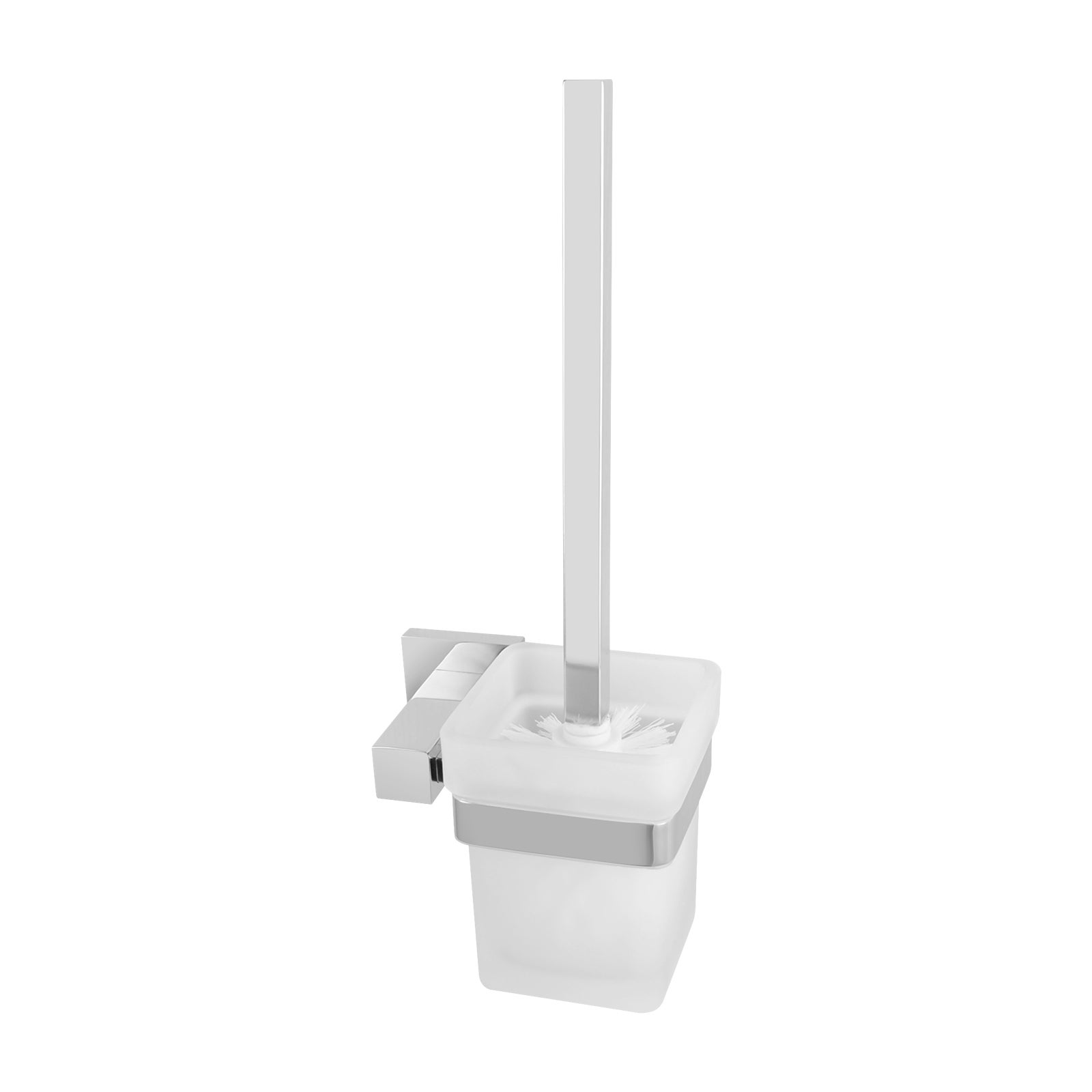 Luxury Bathroom Square Toilet Brush with Glass Holder