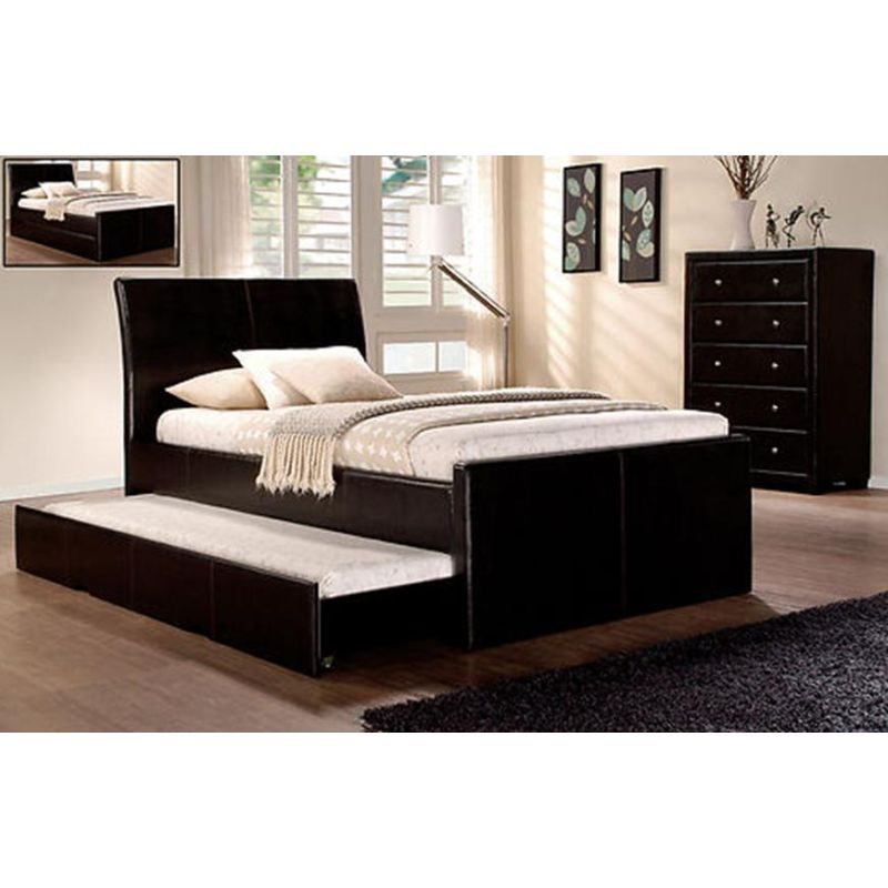 Hamilton King Single Bed Frame w/ Trundle Bed Brown