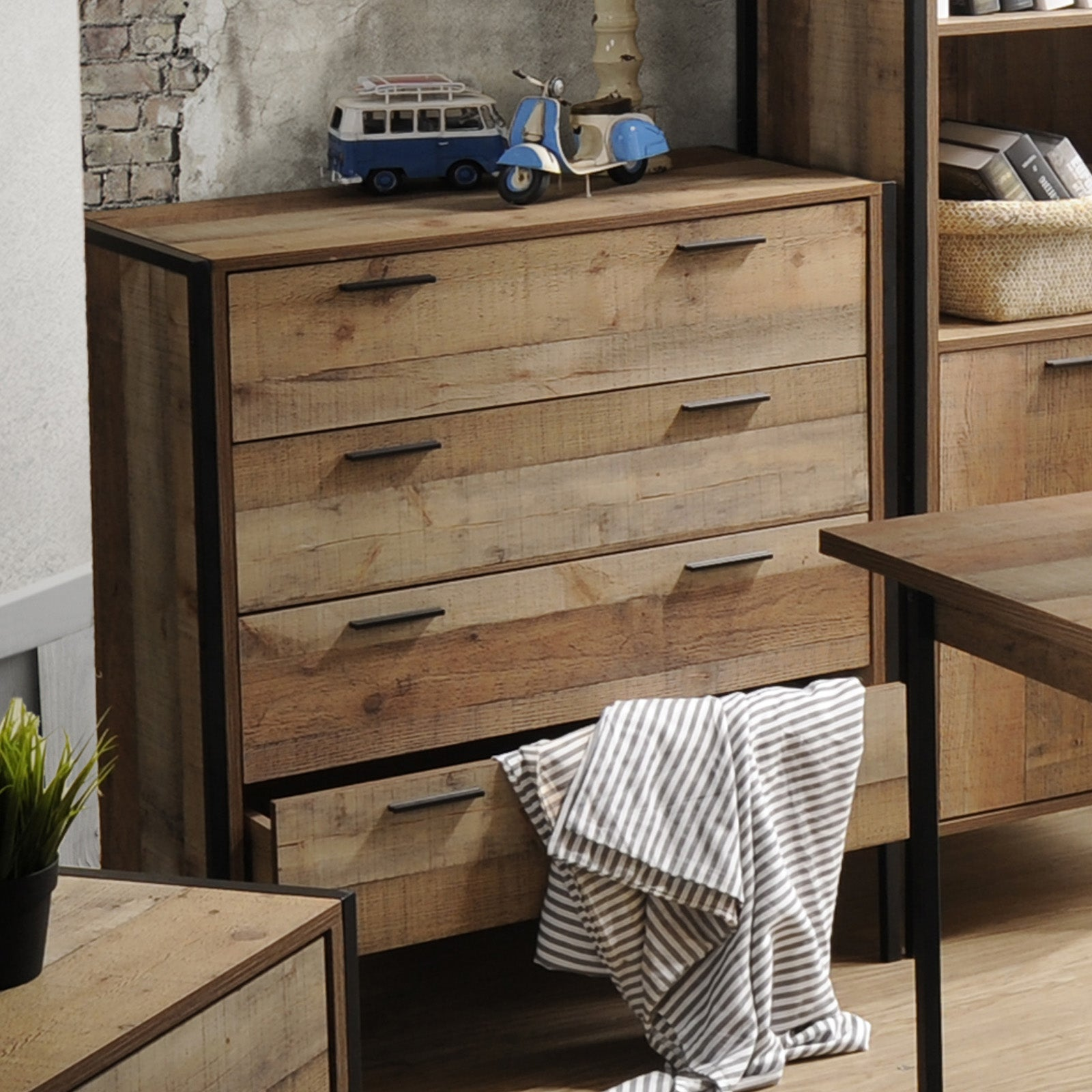 Tallboy 4 Storage Drawers Natural Wood Like Particle board Construction in Oak Colour