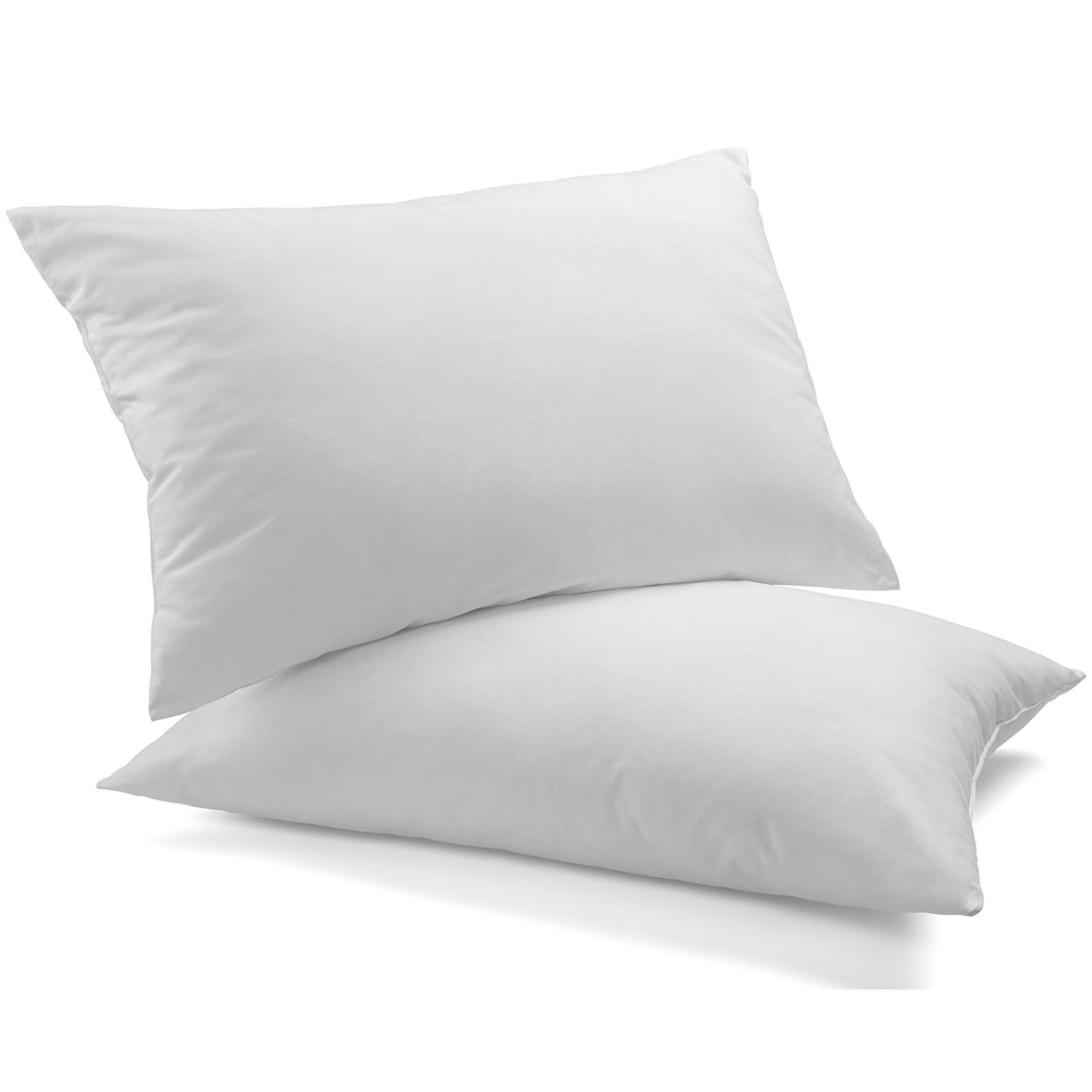 Royal Comfort Goose Down Feather Pillows 1000GSM 100% Cotton Cover - Twin Pack White 50 x 75 cm