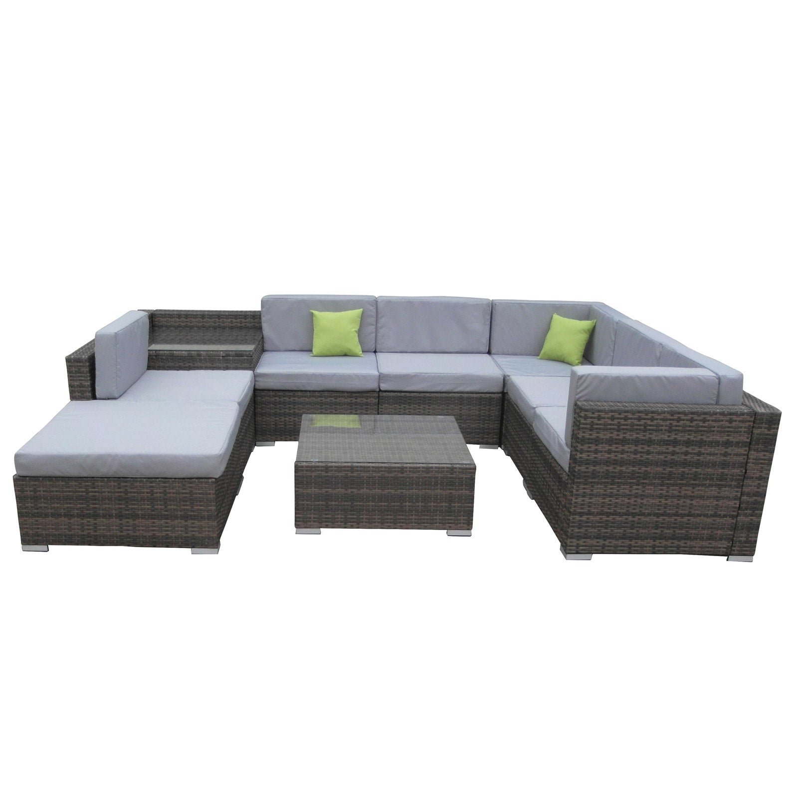 Milano 9 Piece Wicker Rattan Sofa Set Oatmeal Grey Outdoor Lounge Furniture Oatmeal