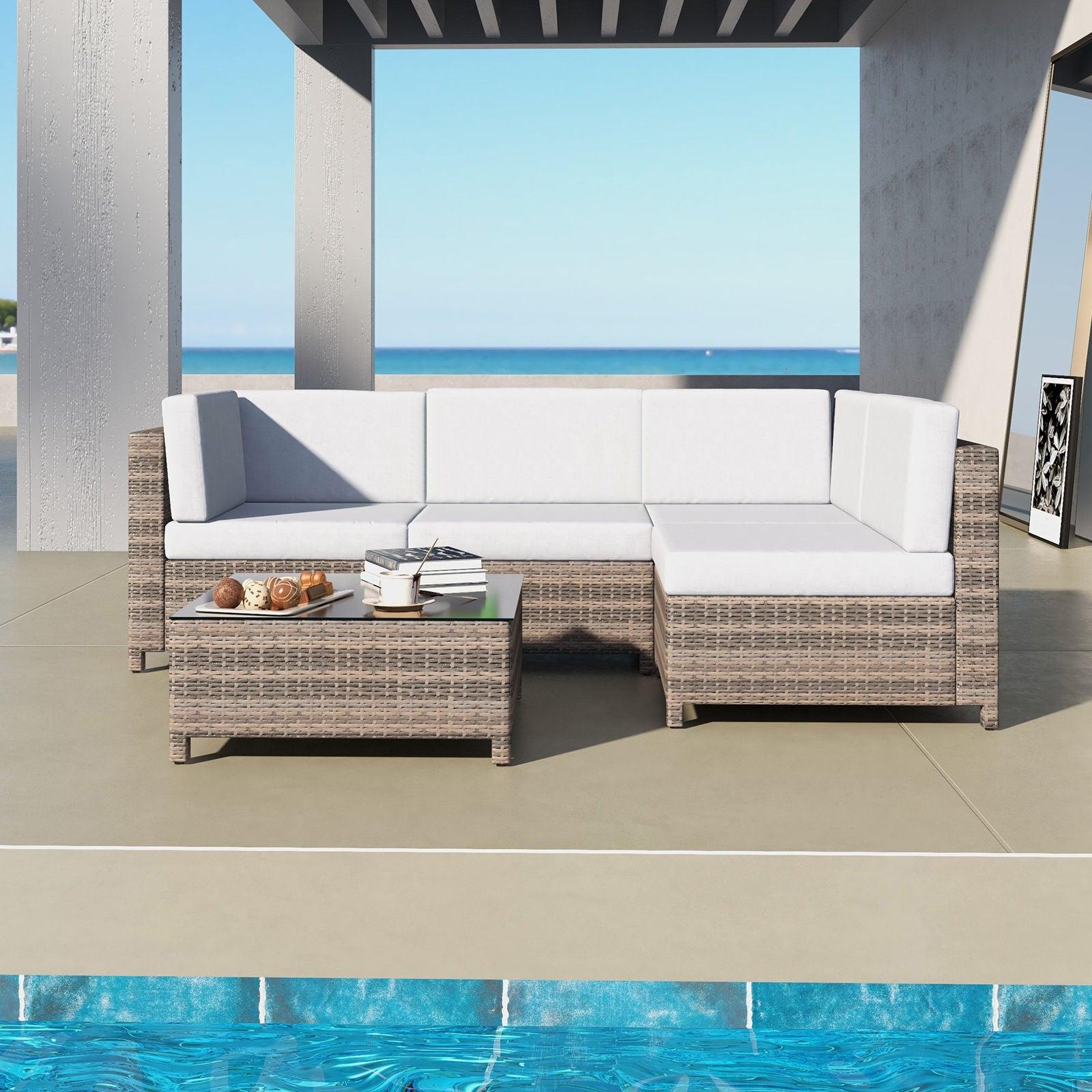 Milano Decor 5 Piece Outdoor Sofa Set Rattan Oatmeal Black Patio Garden Lounge Brown