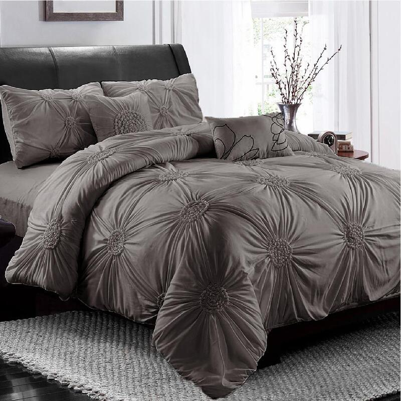 Stone Circle Ruched Large Diamond Pintuck Dyed Quilt/Doona Cover Pillowcase Set