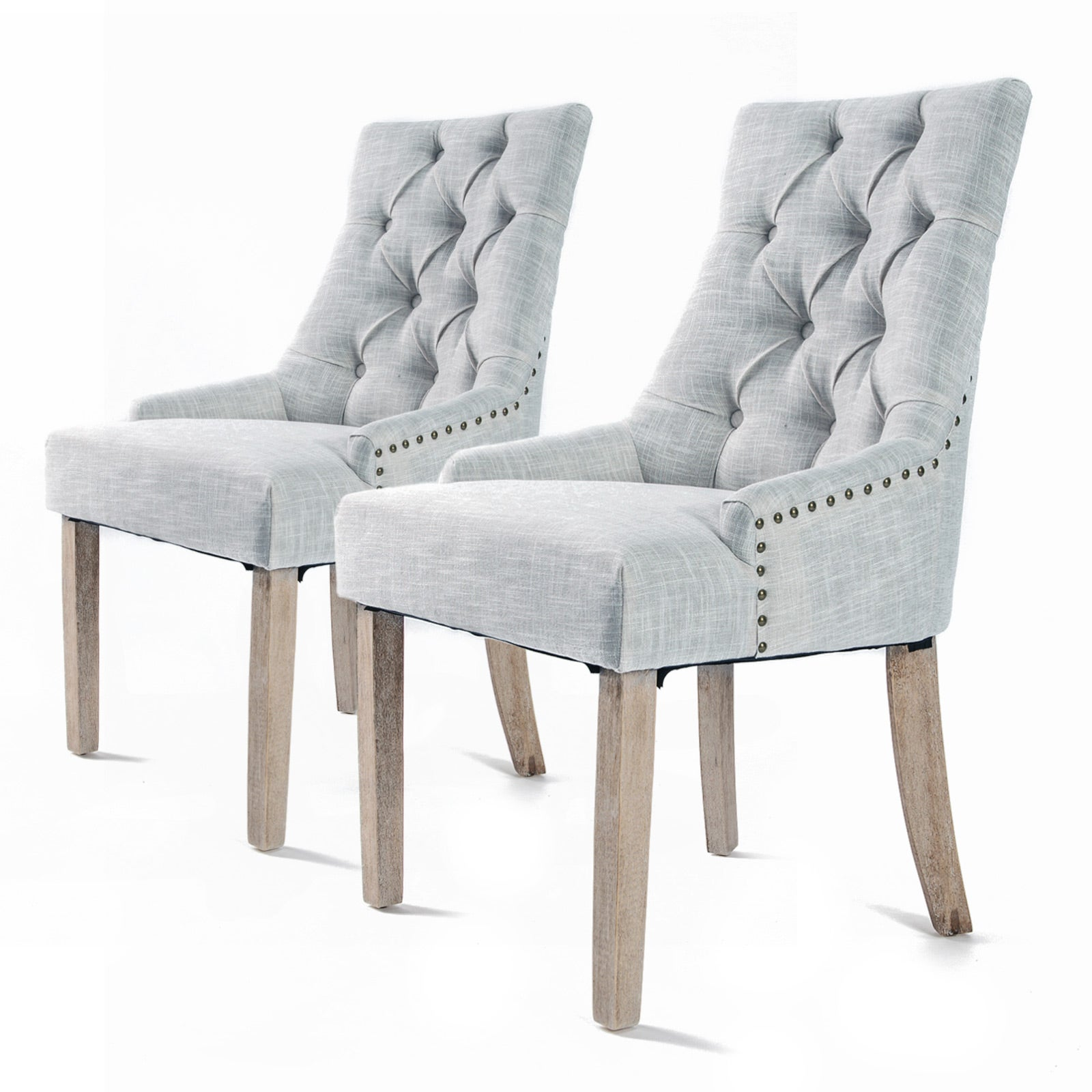 2X French Provincial Dining Chair Oak Leg AMOUR GREY