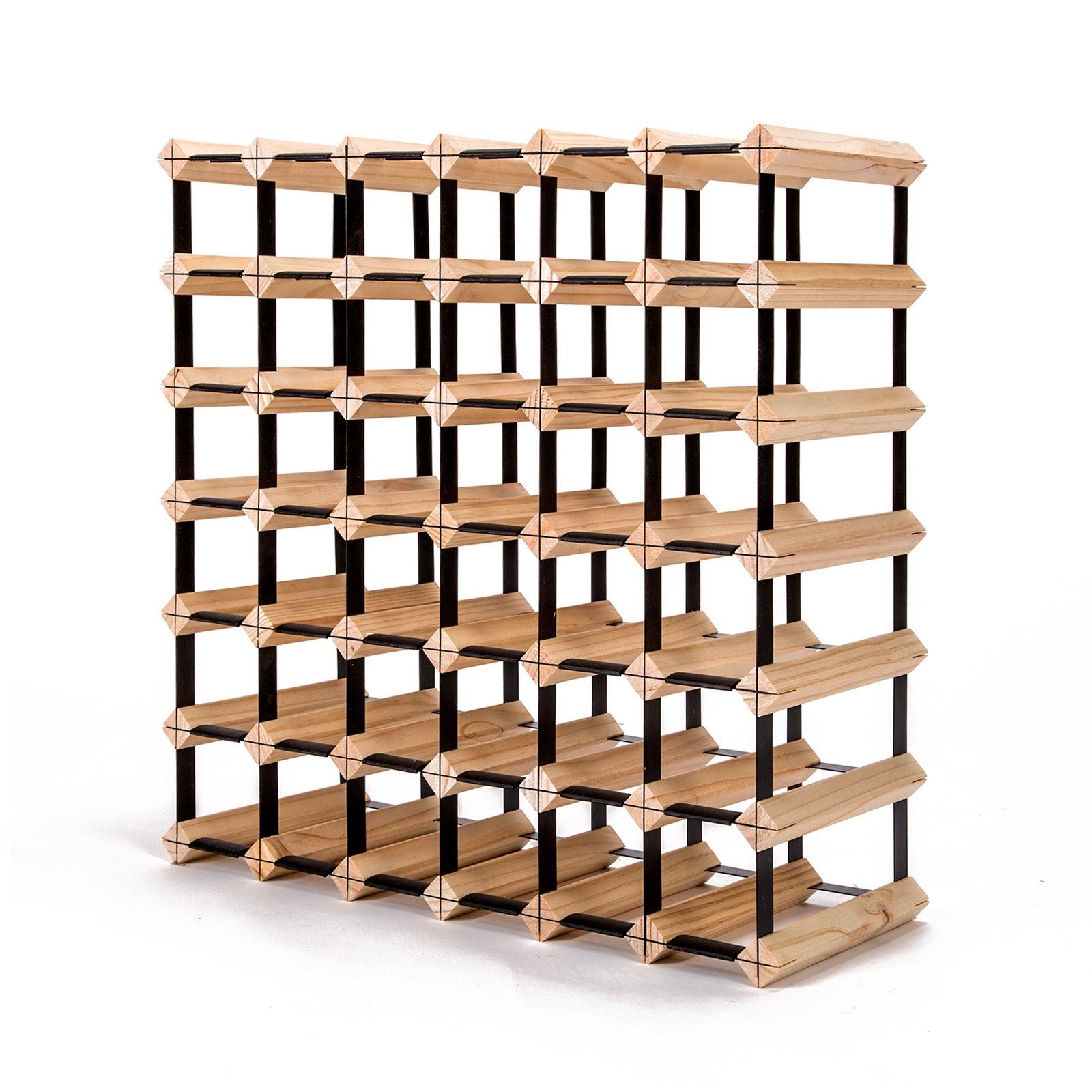 Timber Wine Rack Storage Cellar Organiser 42 Bottle