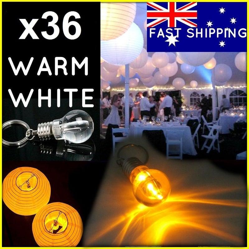 36 x LED Bulb Battery Keyring Light For Paper Lanterns Wedding Party Gift 2700K