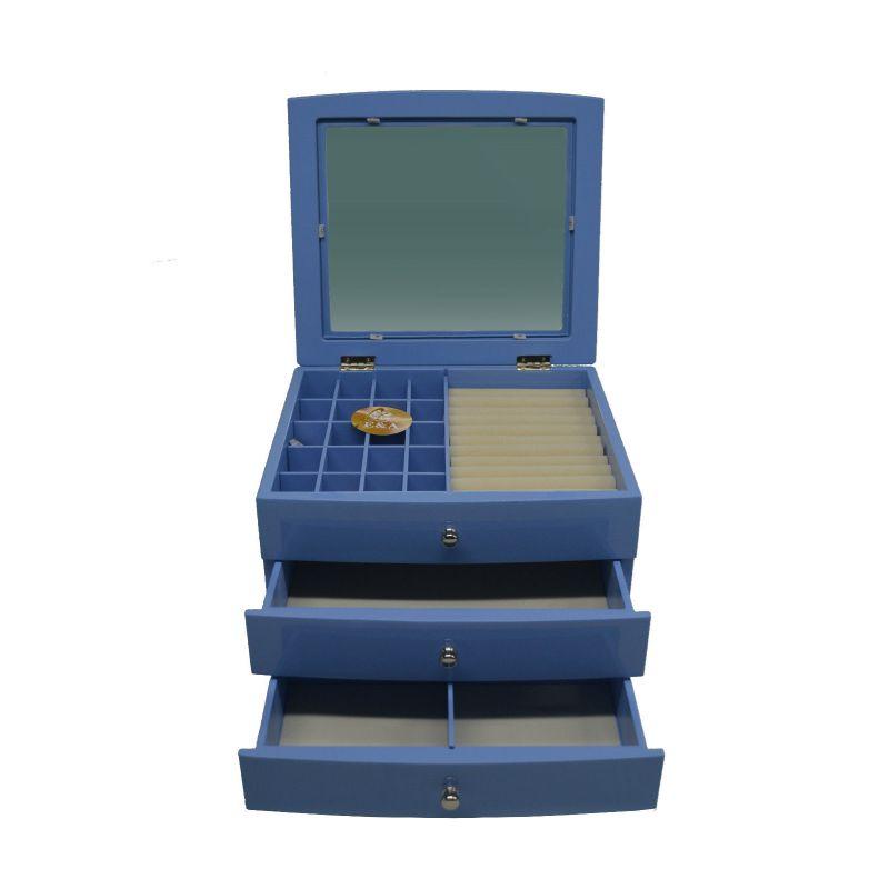 Wooden Fashion Jewellery Box Blue