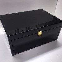 Extra Large Velvet & Wood Jewellery Box Black 42cm