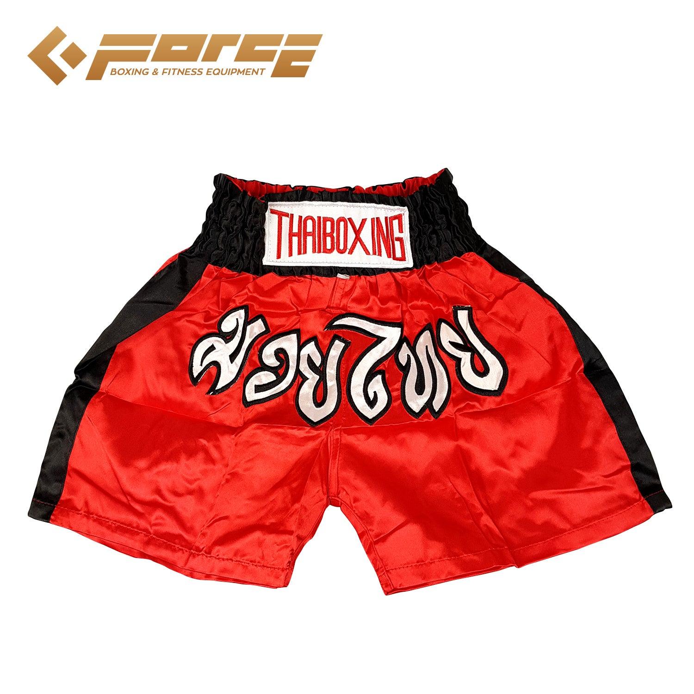 New Adults Men Women Muay Thai Pants Kick Boxing Trunks Satin Red Blackstrip