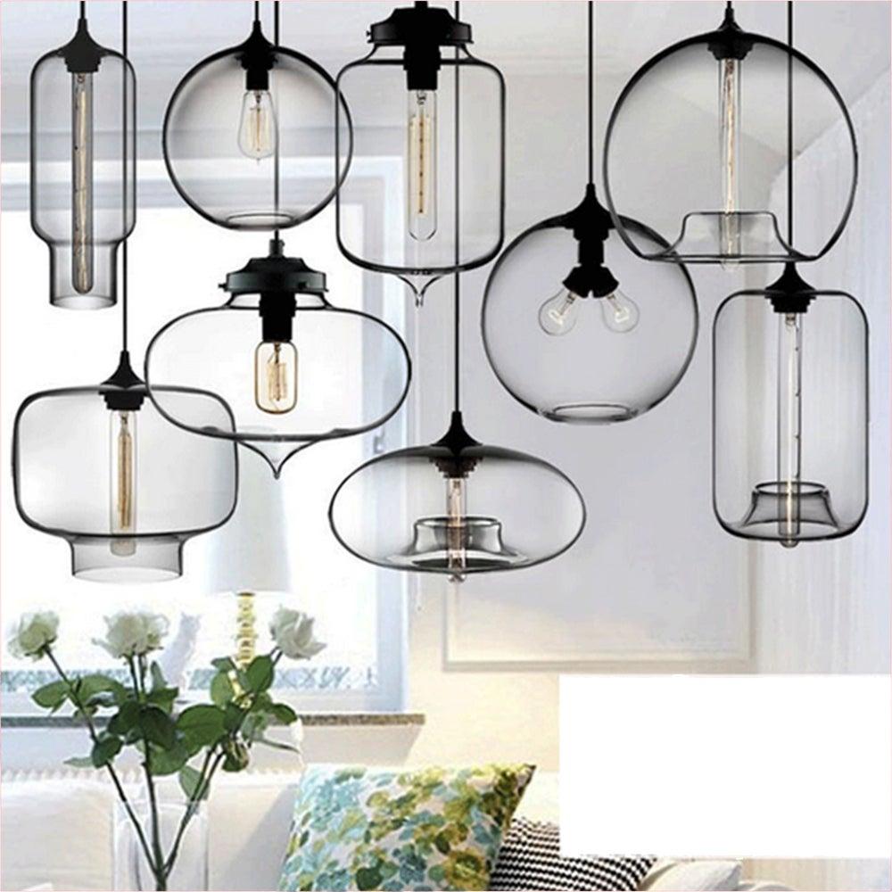 Modern Glass Pendant Light Kitchen Lamp Bar Ceiling Chandelier w/ Vintage BULB