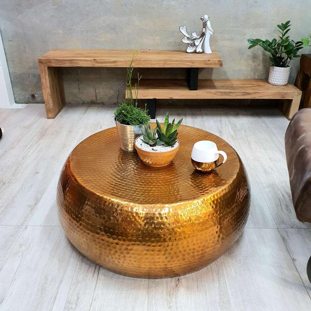 "[Mango Trees] ""Akora"" Hand Crafted Metal Coffee Table 75cm"