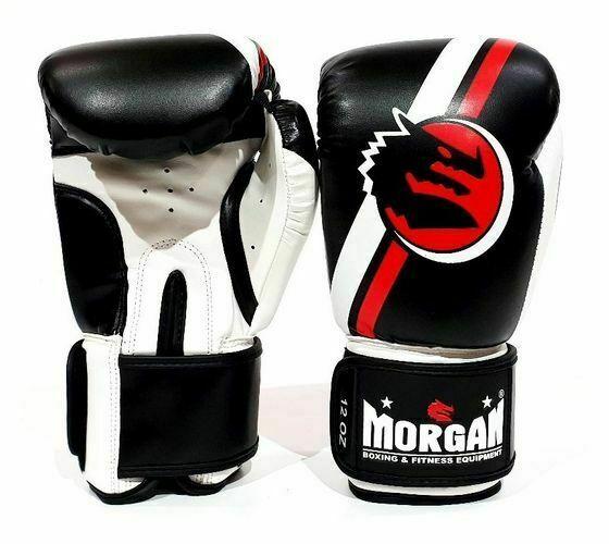 MORGAN V2 Classic Boxing Gloves BLACK/RED (8-16Oz) Muay Thai Kick Boxing MMA