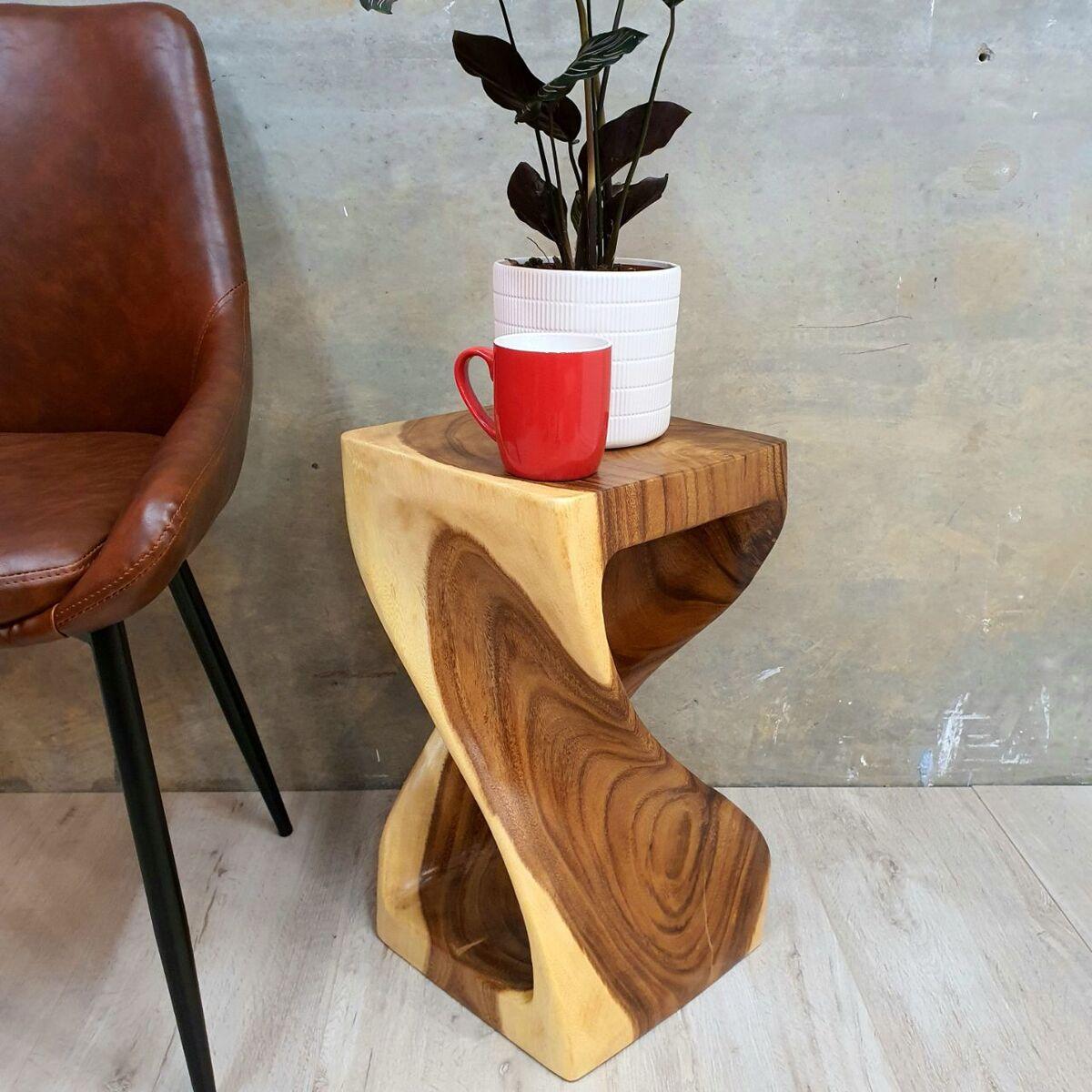 Raintree Wood Corner Table Side Table Indoor Outdoor Plant Stand Live Edge