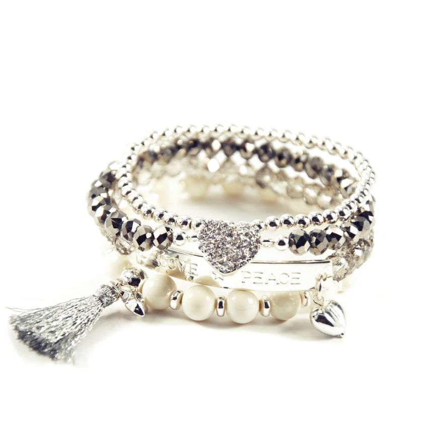 Avalon Spring White Silver Bracelet