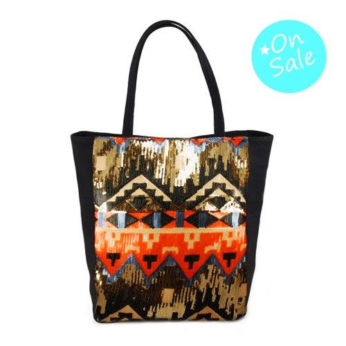 Sequin Cotton Magnetic Close Tote Bag Black & Aztec