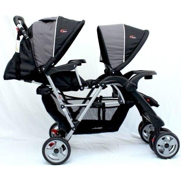 Mamakiddies Double Baby Pram Twin Stroller Tandem in Grey Black