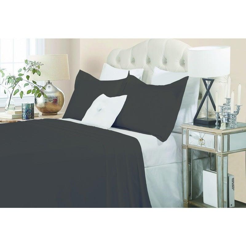 Queen Size Cotton Quilt Cover Set Charcoal 1500TC