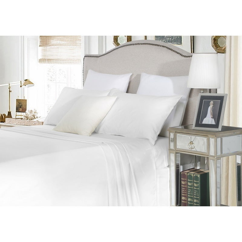 Double Cotton Fitted Bed Sheet Set in White 1500TC
