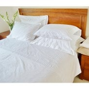 Egyptian Cotton White Stripe Queen Bed Sheet Sets