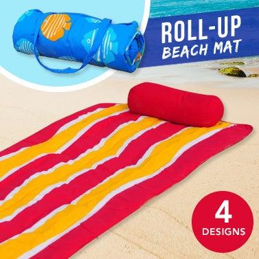 Roll-Up Reversible Beach Mat with Pillow