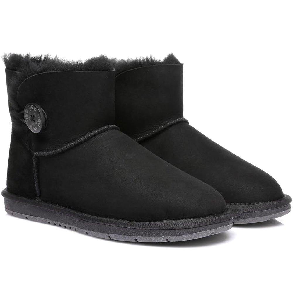 Ugg Boots Mini Button - Premium Australian Sheepskin, Water Resistant, Non-Slip