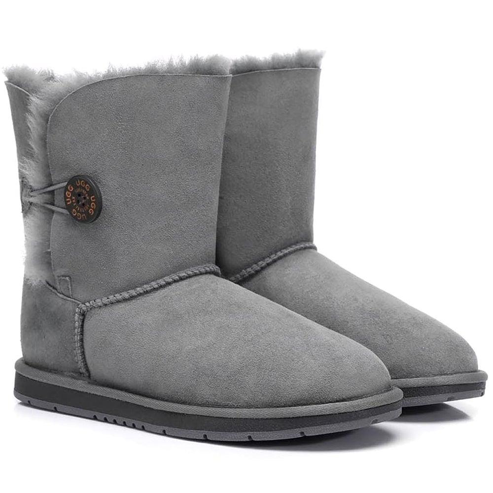 Ugg Boots Short Button - Premium Australian Sheepskin, Water Resistant, Non-Slip