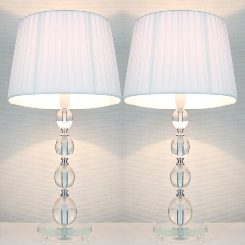 2x Bead Acrylic Bedside Table Lamps W White Shades Buy Table Desk Lamps 61082