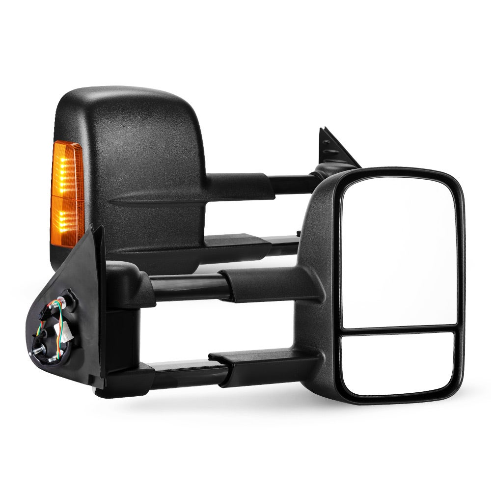 SAN HIMA Pair Extendable Towing Mirrors for Toyota Hilux 2015-ON BLACK