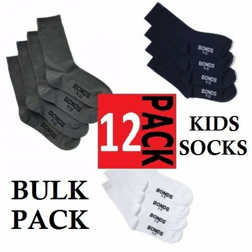 12 PACK x BONDS SCHOOL SOCKS BOYS GIRLS CREW COTTON KIDS NAVY WHITE GREY 12 PAIR
