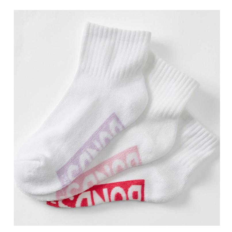 12 Pairs x BONDS KIDS QUARTER CREW Girls Sports Socks White Violet Pink Red 09K