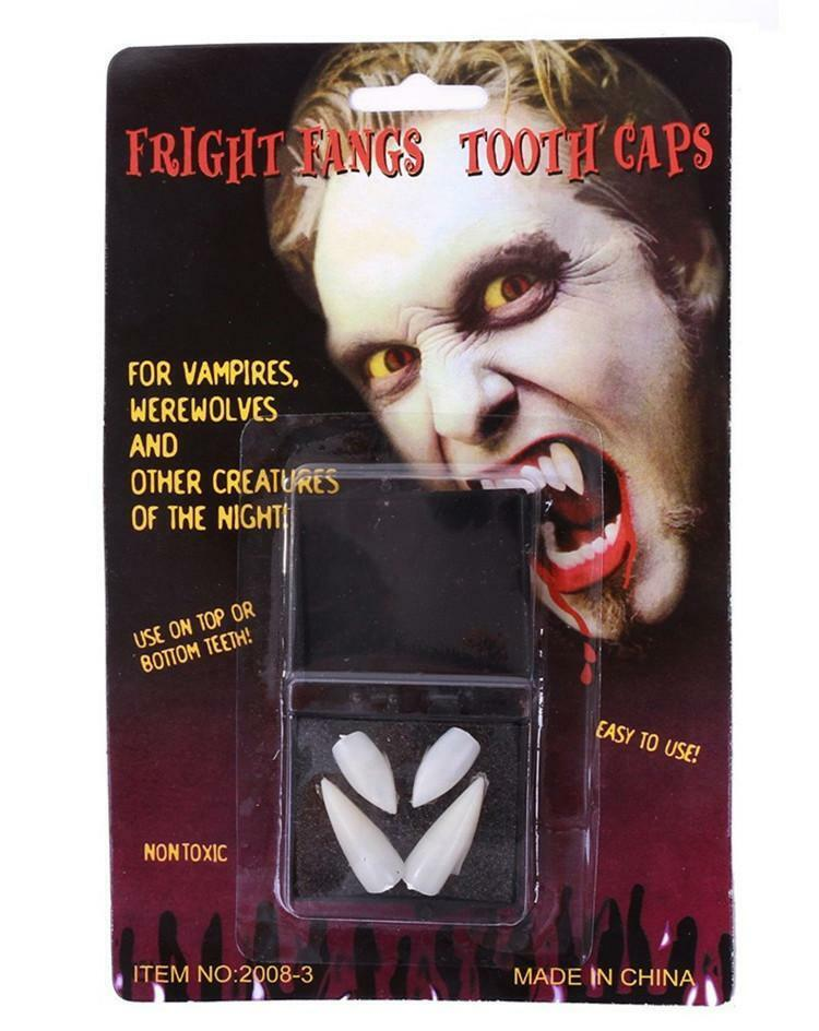 2 PAIRS x VAMPIRE FANGS Teeth Tooth Cap Fright Night Werewolf Fangs Halloween