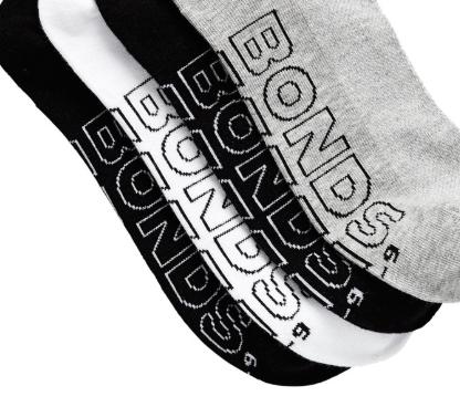 4 X Bonds Mens Sock Logo Light Quarter Crew Socks