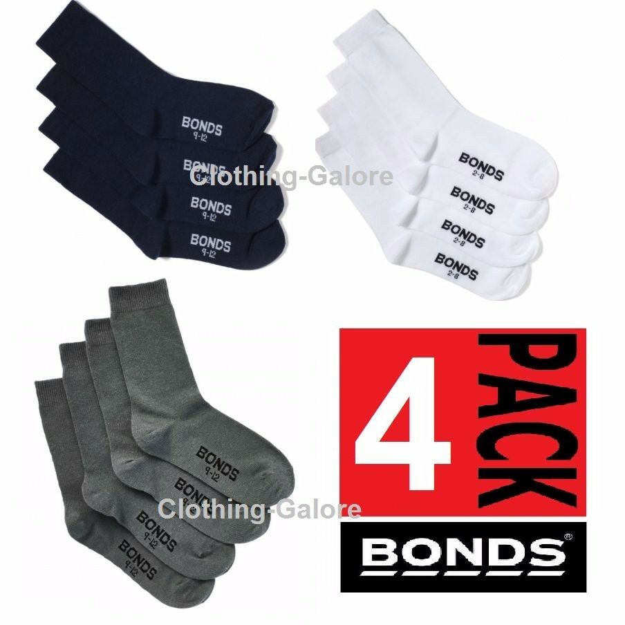 Bonds Boys Girls 4 Pairs Crew School 4 Pack Cotton Socks Kids Navy White Grey