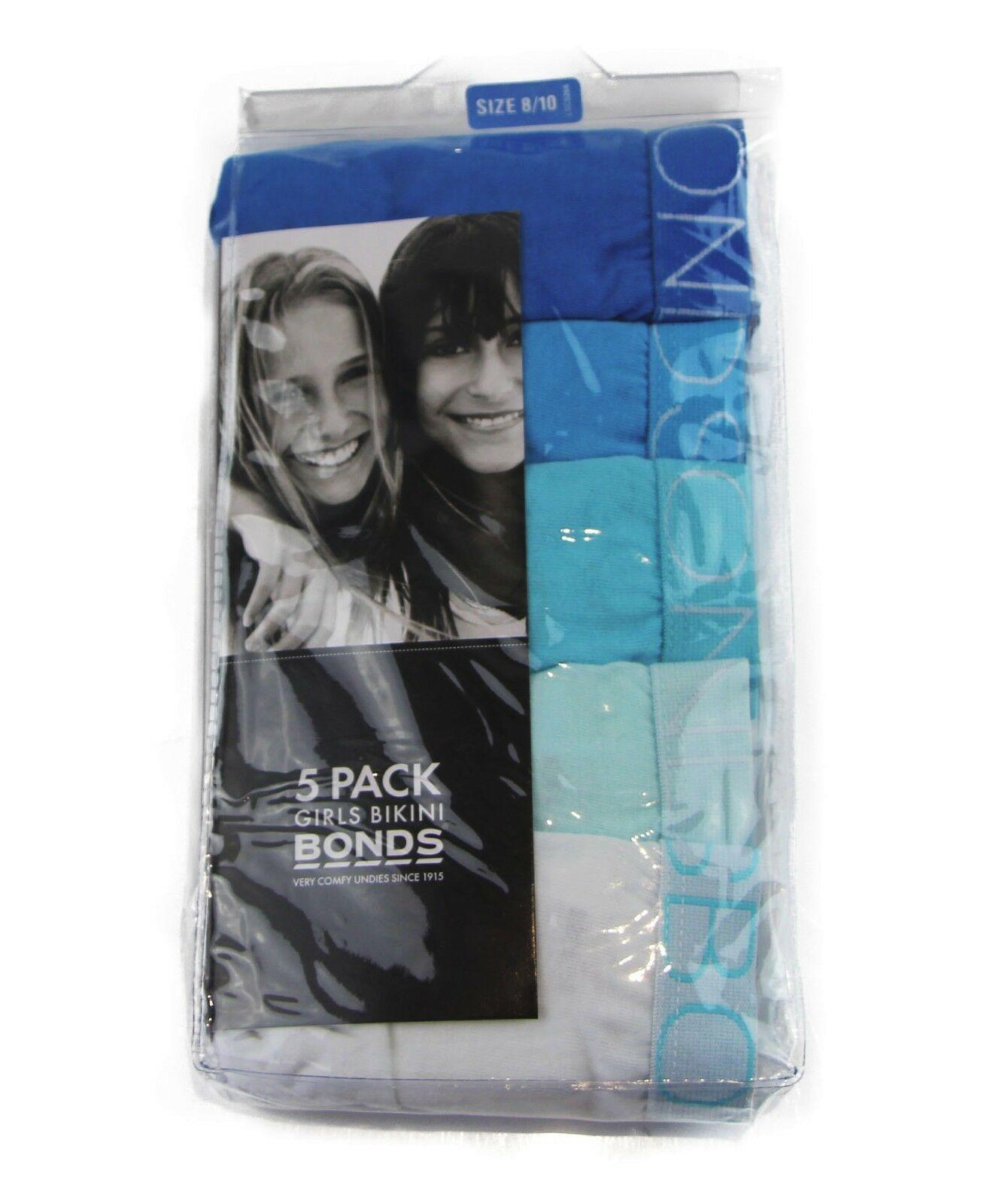 BONDS KIDS GIRLS UNDERWEAR 5 PACK PAIRS BRIEFS UNDIES WHITE BLUE AQUA SIZE 8 10