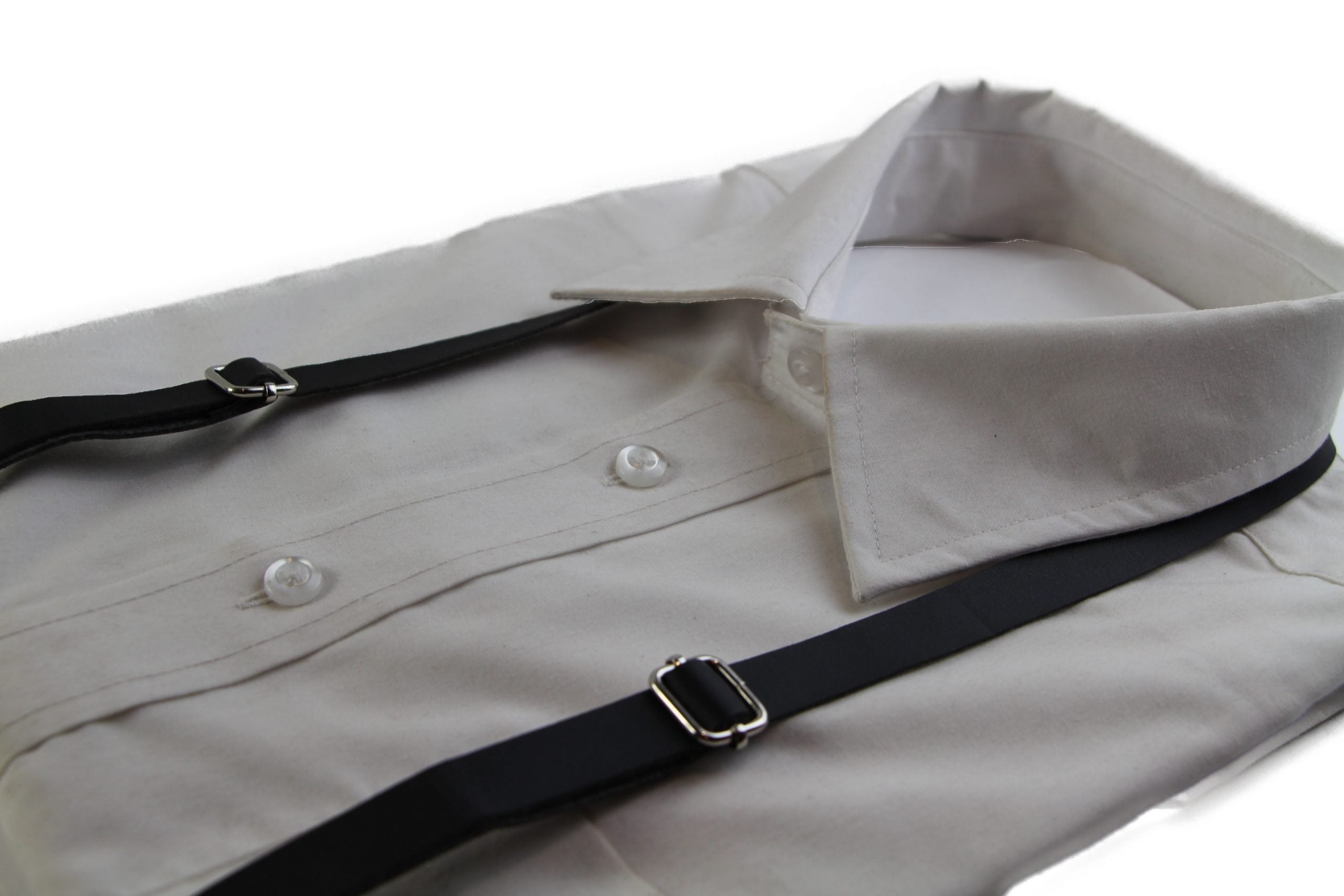 Boys Adjustable Faux Leather Thin Black Suspenders