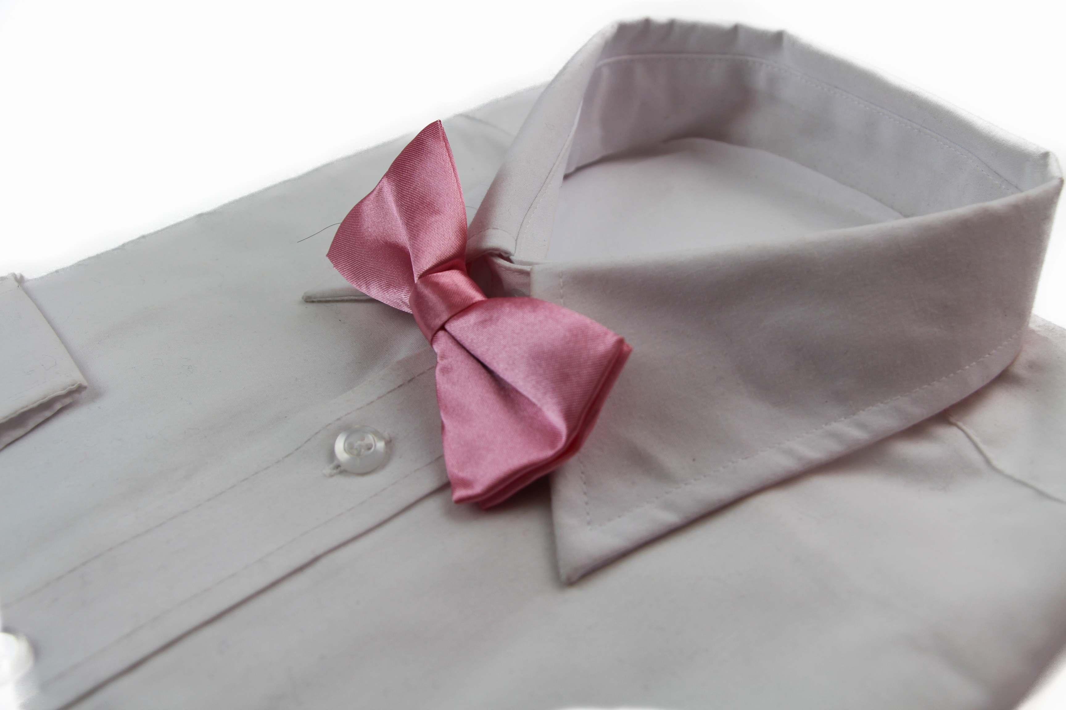 Boys Pink Plain Bow Tie