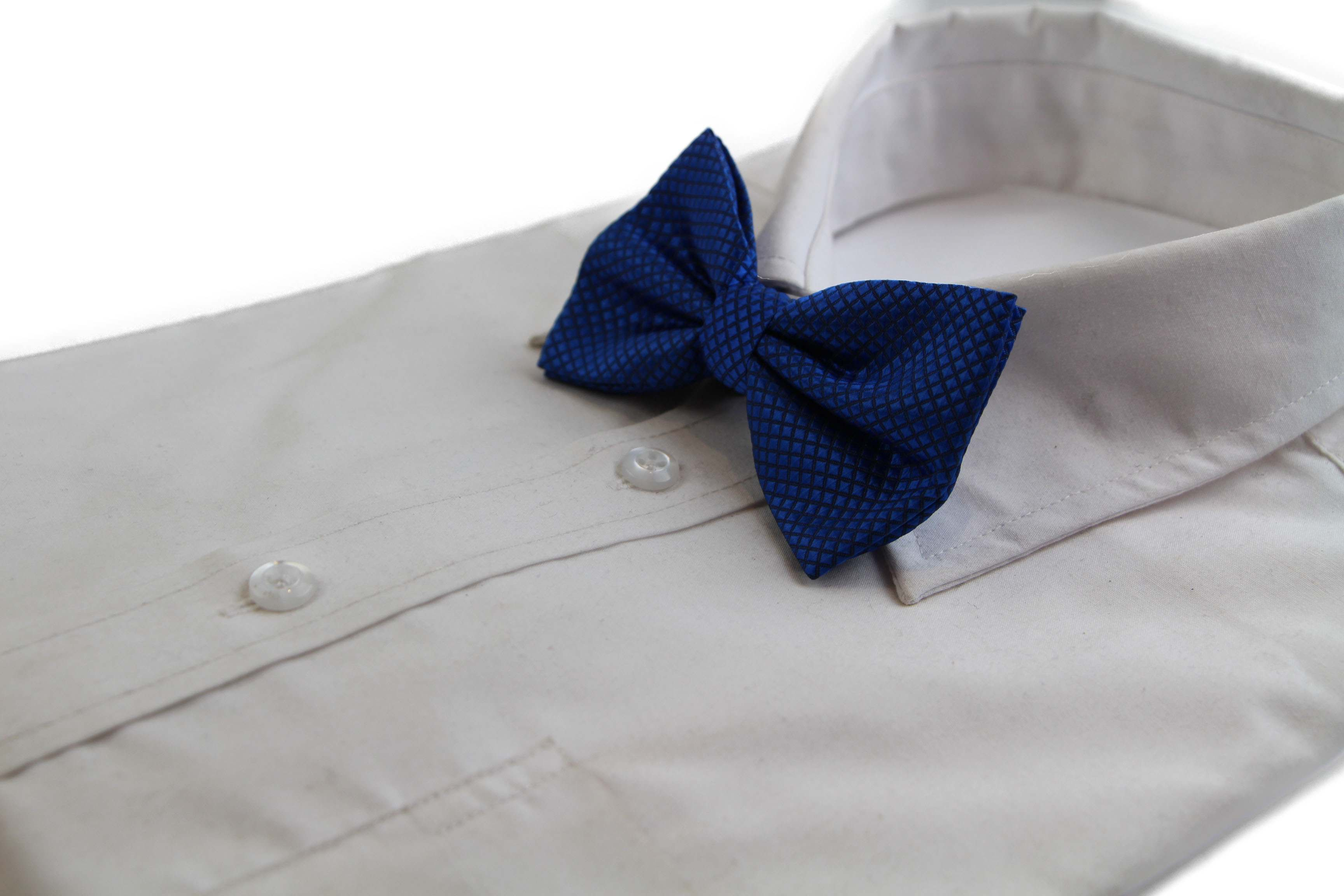 Mens Blue Plain Coloured Large Patterned Checkered Bow Tie