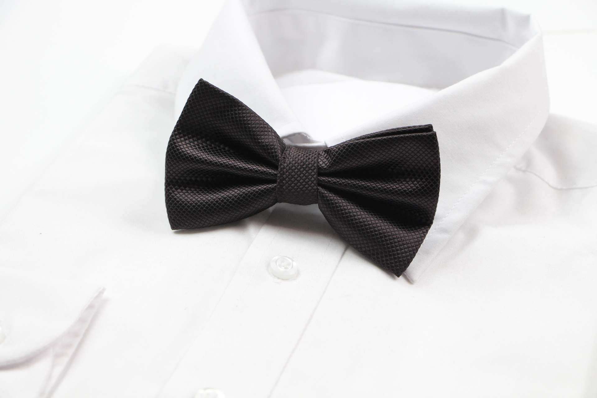 Mens Dark Brown Plain Coloured Checkered Bow Tie